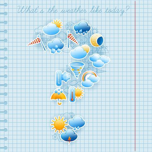 Concept de prévisions météo page de cahier d'école vecteur