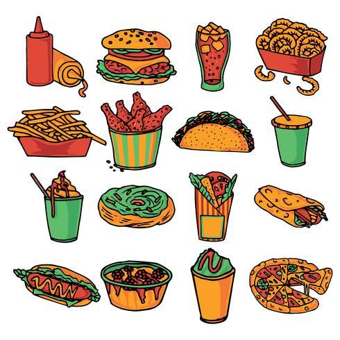 Fast food menu icons set couleur vecteur