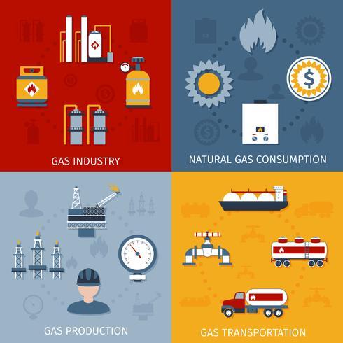 Composition d'icônes plat industrie du gaz vecteur