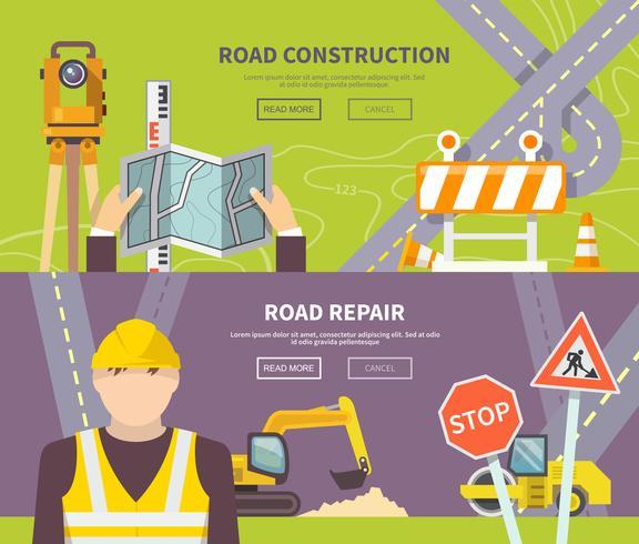 Bannière de travailleur routier vecteur