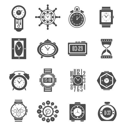 Ensemble d'icônes horloge noire vecteur