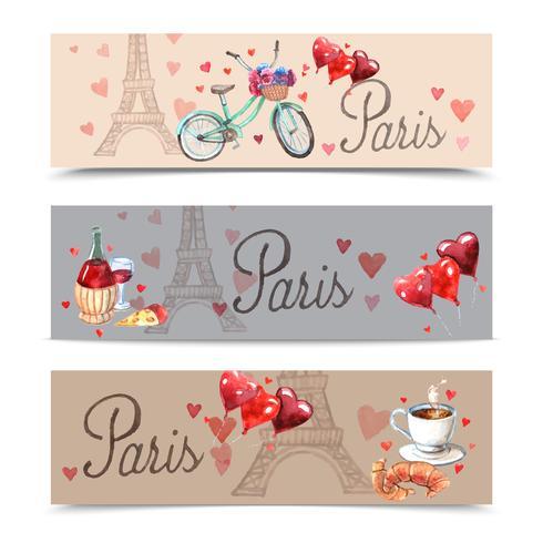 Bannières de symboles aquarelle de Paris vecteur