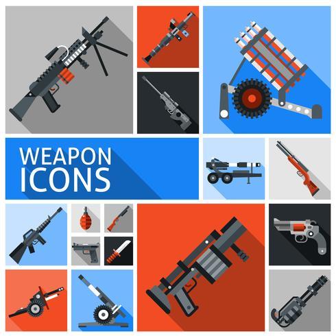 Ensemble d'icônes d'armes vecteur