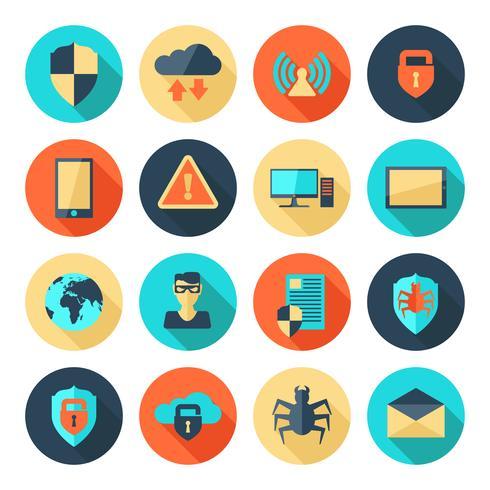 Icônes de sécurité réseau vecteur
