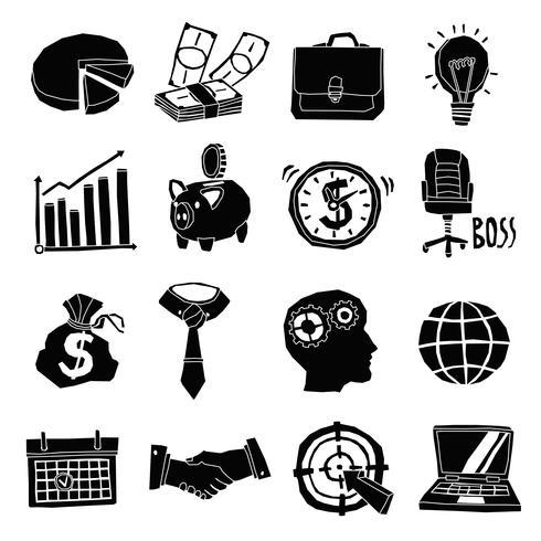 Ensemble d'icônes noir et blanc vecteur