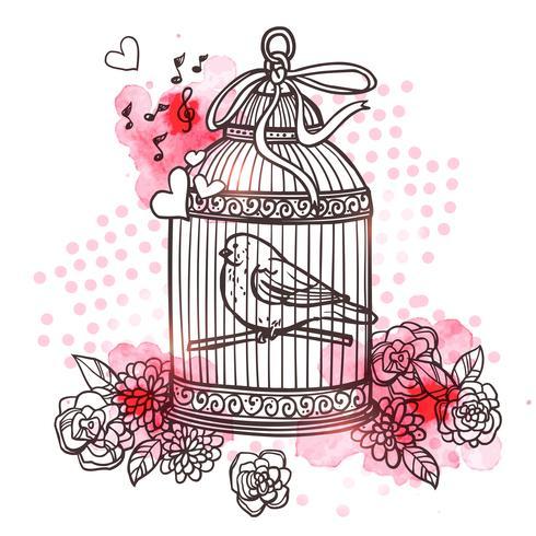Illustration d'oiseau en cage vecteur