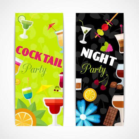 Bannière de cocktails verticale vecteur