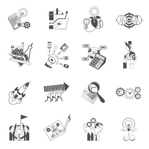 Ensemble d'icônes noir Business teamwork concept vecteur