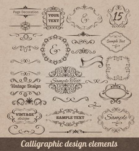 Éléments de dessin calligraphiques vecteur