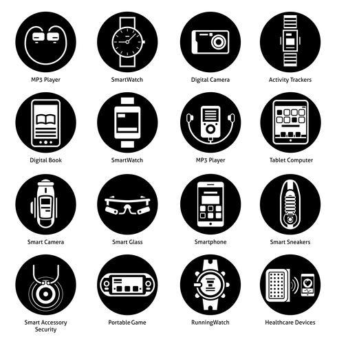 icônes de la technologie portable noir vecteur