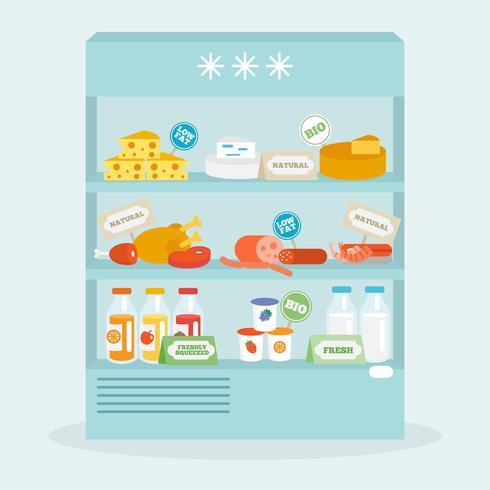 Collection de nourriture dans le réfrigérateur vecteur