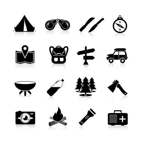 Camping Icons Noir vecteur