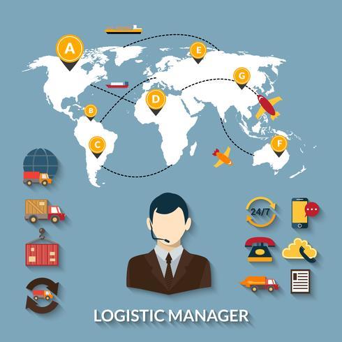 Infographie de gestionnaire logistique vecteur
