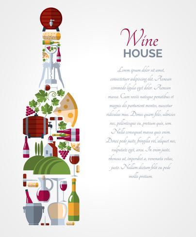 Affiche de compositions d'icônes de bouteille de vin vecteur