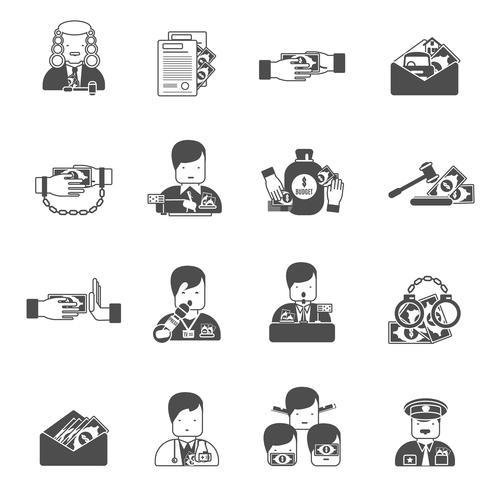 icônes de corruption noire vecteur