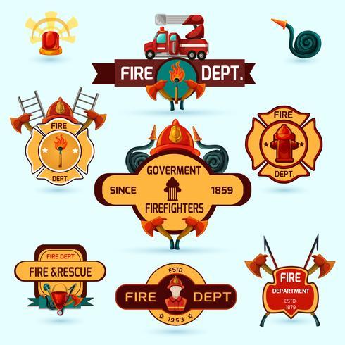 Ensemble d'emblèmes de pompier vecteur