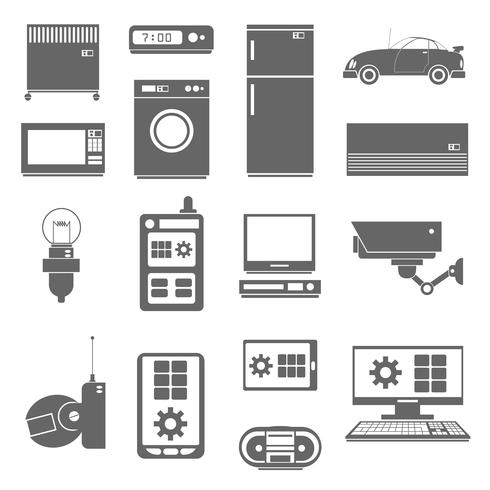 Icônes de choses Internet définies en noir vecteur