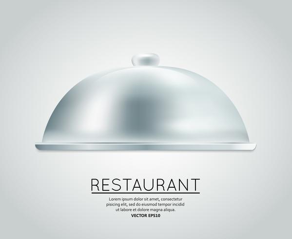 Plateau de nourriture restaurant cloche vecteur