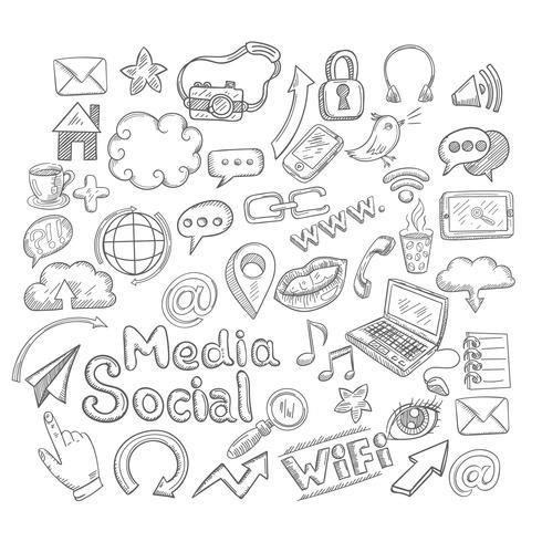 griffonnage icônes sociales vecteur