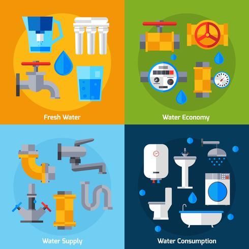 Set d'alimentation en eau vecteur