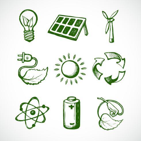 Icônes de croquis d'énergie verte vecteur