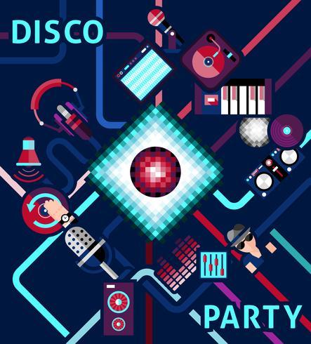 Fond de soirée disco vecteur