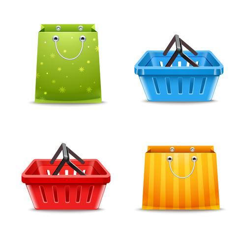 Paniers et sacs à provisions vecteur