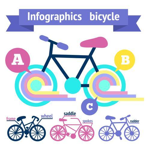 Éléments d'infographie de bicyclette vecteur