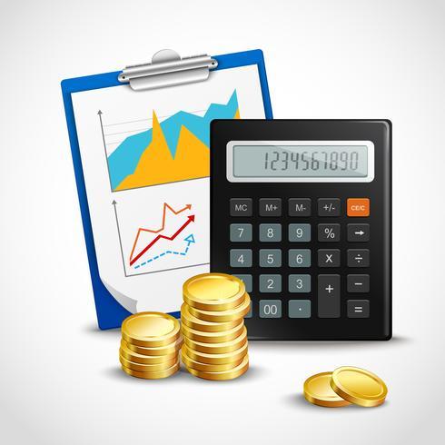 Calculatrice et pièces d'or vecteur