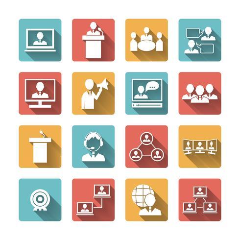 gens d'affaires réunissant des icônes vecteur