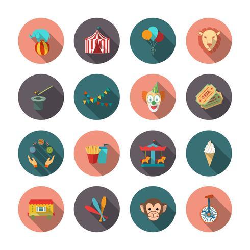 Ensemble d'icônes plats de cirque vecteur