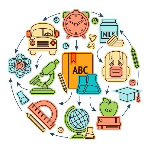 Illustration des icônes de l'éducation vecteur