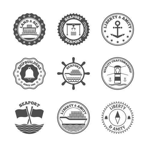 Sea Label Label Set vecteur
