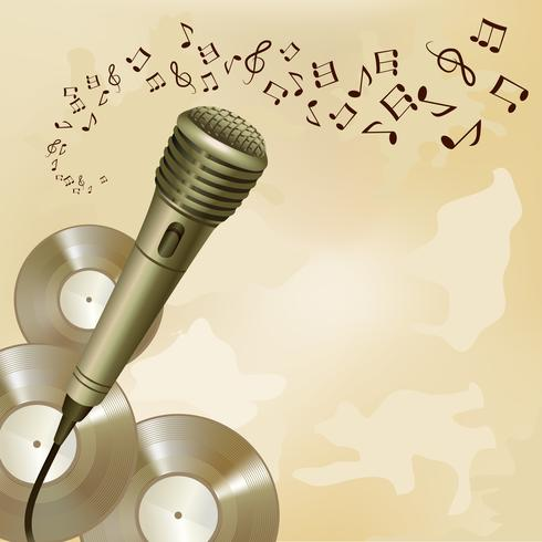Microphone rétro sur fond de musique vecteur