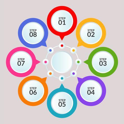 Modèle d'infographie de connexion de cercle à utiliser dans l'affiche du diagramme de flux de travail vecteur