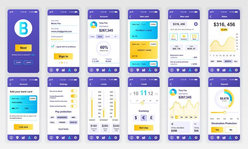 Ensemble d'écrans d'interface utilisateur, UX et GUI Modèle de conception plate d'applications bancaires pour applications mobiles, structures filaires de site Web réactif. Kit d'interface utilisateur Web. Tableau de bord bancaire. vecteur