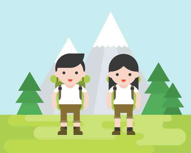 Concept de randonnée, personnage de randonneur mignon avec équipement vecteur