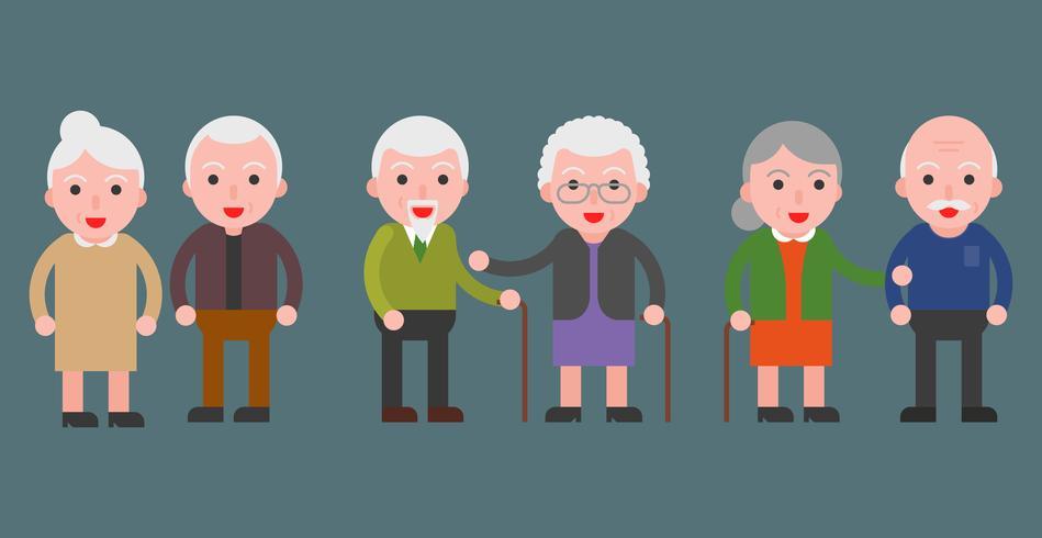 personne âgée couple icône grand-mère et grand-père, design plat vecteur