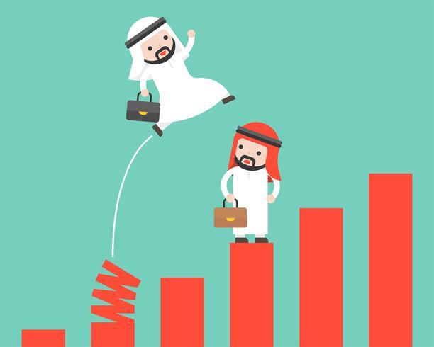 Homme d'affaires arabe sautant du graphique de printemps, touche de raccourci vers le concept de succès vecteur