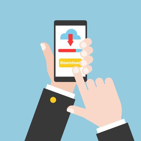 main d'affaires sur téléphone intelligent et tactile sur l'écran tactile vecteur