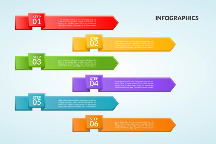 Modèle d'infographie d'étape ou diagramme de flux de travail en 6 étapes vecteur