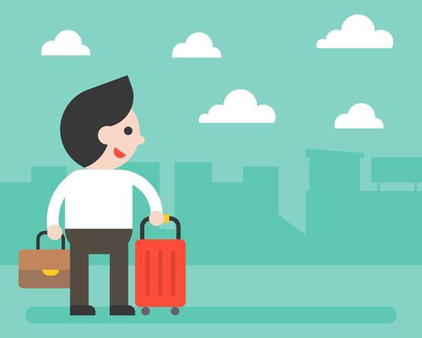 Homme d'affaires et bagages sur fond de ville, bannière ou poster vecteur