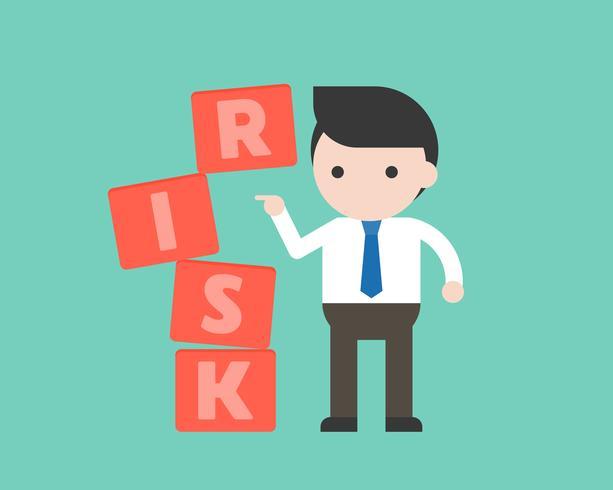 homme d'affaires pousser le bloc, concept de gestion des risques vecteur