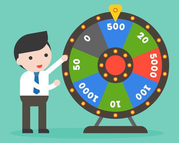Homme d'affaires avec la roue de la fortune, design plat vecteur