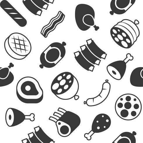 Viande de boucherie Modèle sans couture pour emballer des cadeaux, des toiles de fond ou des papiers peints vecteur