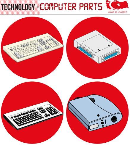 Retro Computers - équipement, CPU, CD et disquette, ancien ordinateur, eps, vecteur