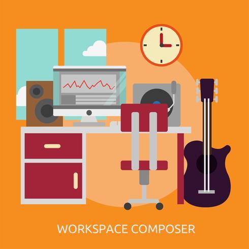 Workspace Composer Illustration conceptuelle Conception vecteur