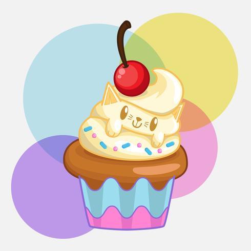 vecteur de cupcakes chat mignon