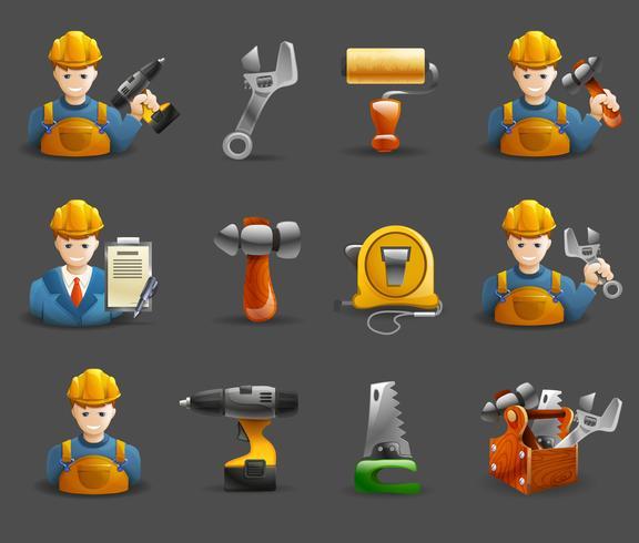 Jeu d'icônes isométriques de travaux de rénovation de la construction vecteur