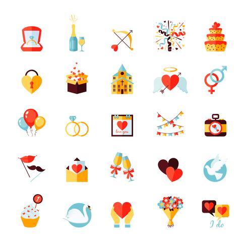 Set d'icônes de mariage vecteur